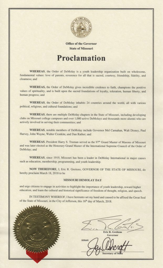 Missouri DeMolay Day Proclamation