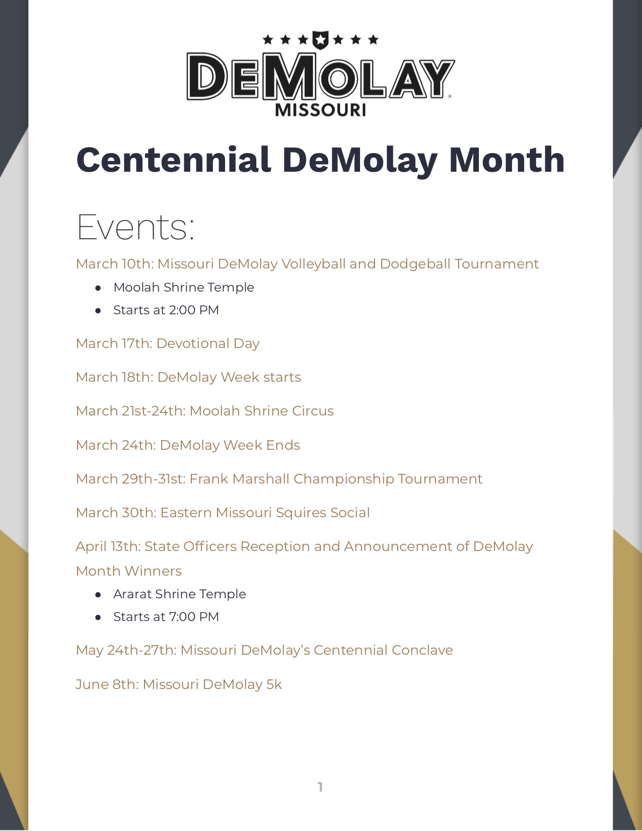 Missouri DeMolay Centennial DeMolay Month